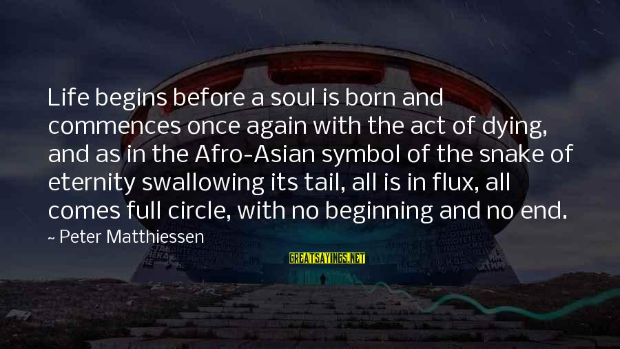 Beginning Life Again Sayings By Peter Matthiessen: Life begins before a soul is born and commences once again with the act of