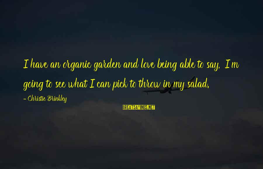 Being Able To See Sayings By Christie Brinkley: I have an organic garden and love being able to say, 'I'm going to see