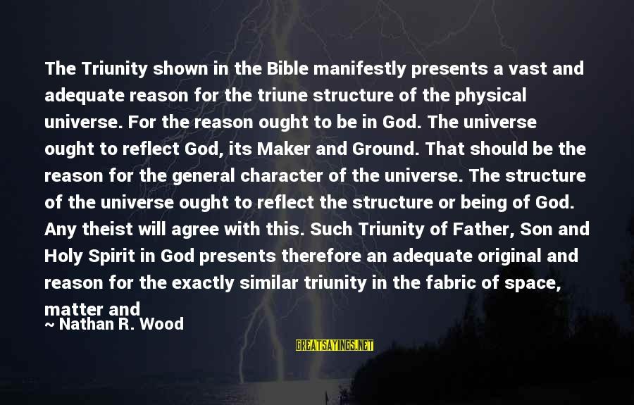 Being In The Present Sayings By Nathan R. Wood: The Triunity shown in the Bible manifestly presents a vast and adequate reason for the