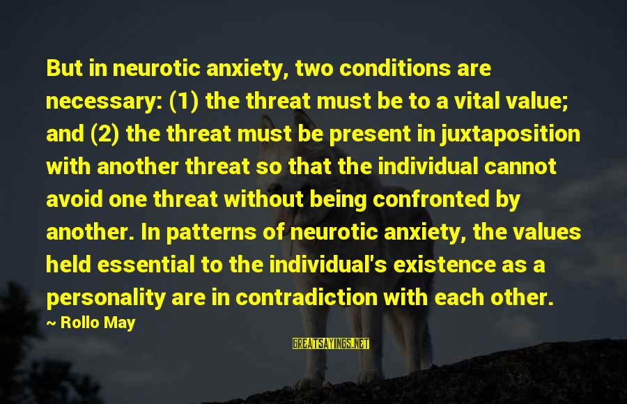 Being In The Present Sayings By Rollo May: But in neurotic anxiety, two conditions are necessary: (1) the threat must be to a