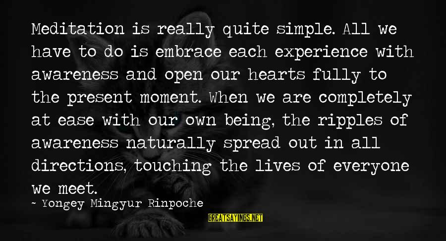 Being In The Present Sayings By Yongey Mingyur Rinpoche: Meditation is really quite simple. All we have to do is embrace each experience with