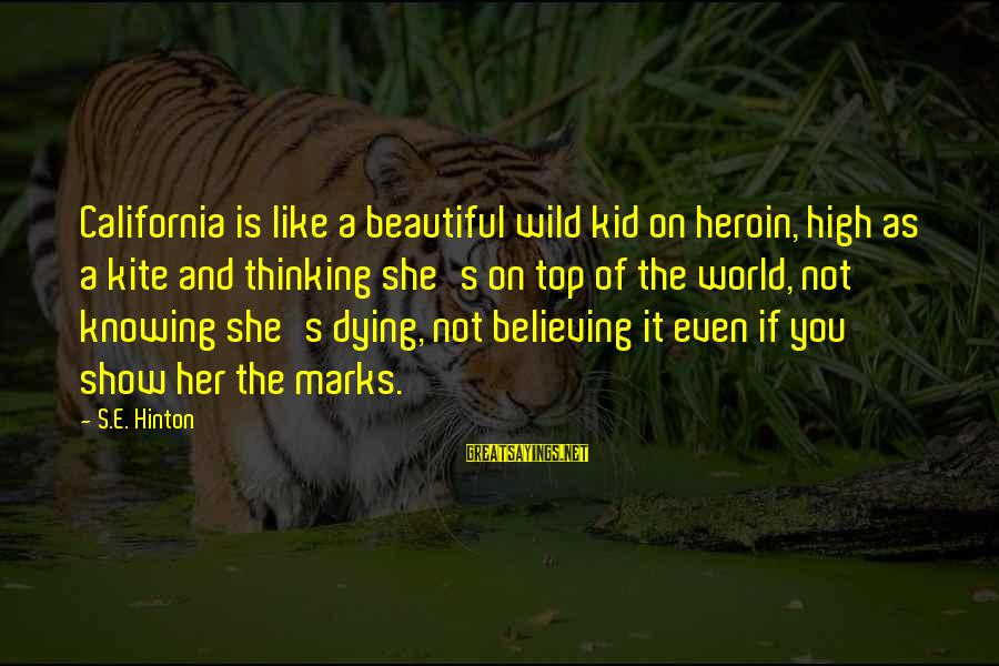 Believing Sayings By S.E. Hinton: California is like a beautiful wild kid on heroin, high as a kite and thinking