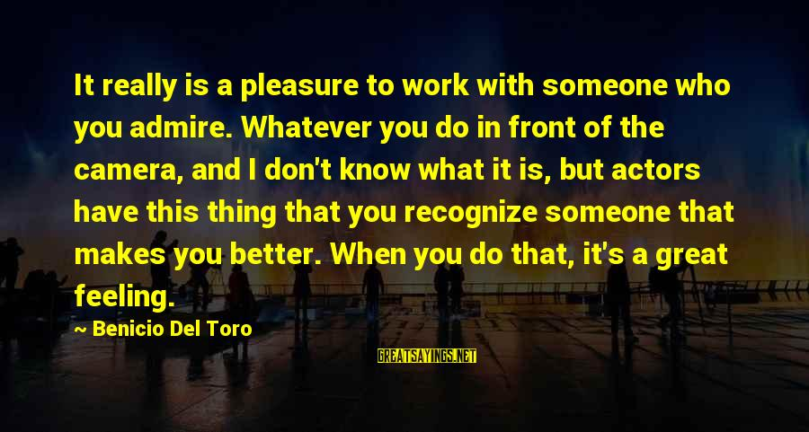 Benicio Del Toro Sayings By Benicio Del Toro: It really is a pleasure to work with someone who you admire. Whatever you do