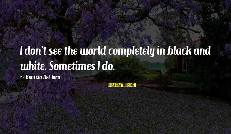 Benicio Del Toro Sayings By Benicio Del Toro: I don't see the world completely in black and white. Sometimes I do.