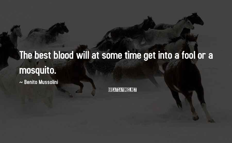 Benito Mussolini Sayings: The best blood will at some time get into a fool or a mosquito.