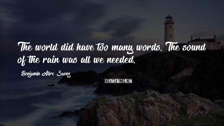 Benjamin Alire Saenz Sayings: The world did have too many words. The sound of the rain was all we