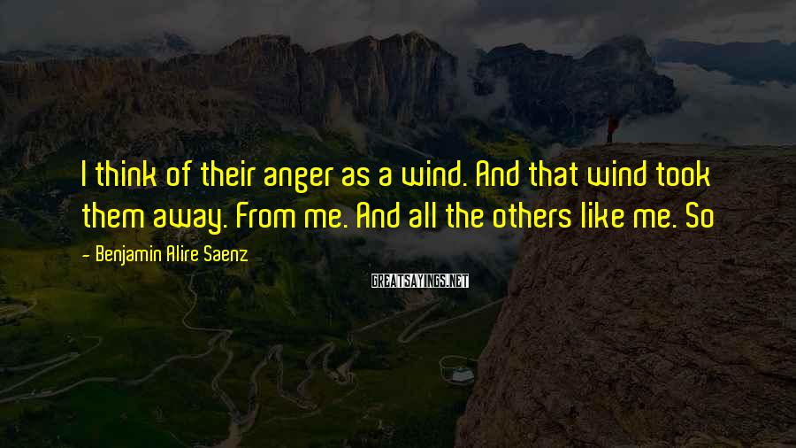 Benjamin Alire Saenz Sayings: I think of their anger as a wind. And that wind took them away. From