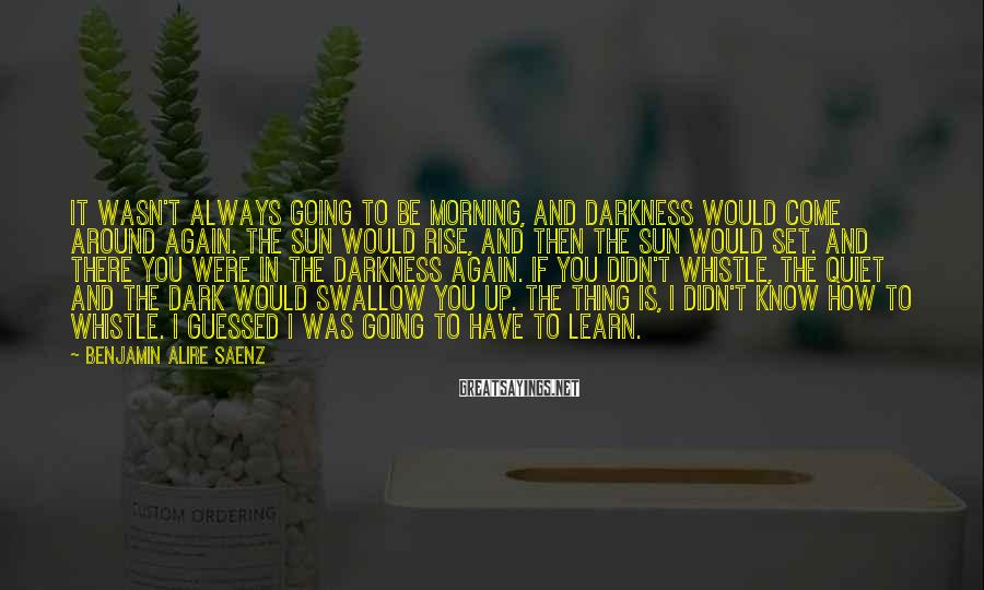 Benjamin Alire Saenz Sayings: It wasn't always going to be morning, and darkness would come around again. The sun