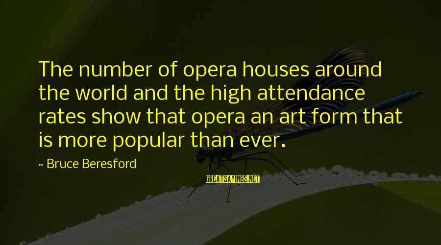 Beresford Sayings By Bruce Beresford: The number of opera houses around the world and the high attendance rates show that
