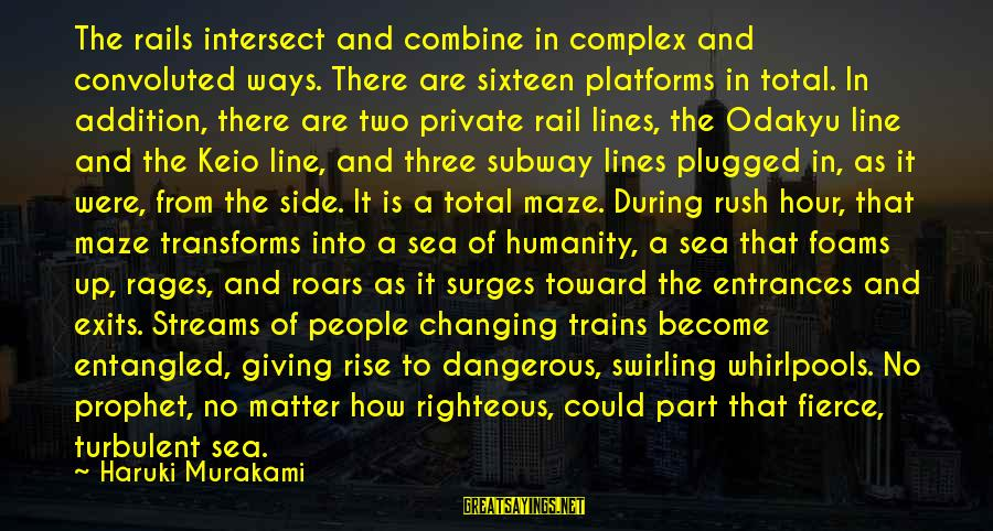 Best 1 Line Sayings By Haruki Murakami: The rails intersect and combine in complex and convoluted ways. There are sixteen platforms in