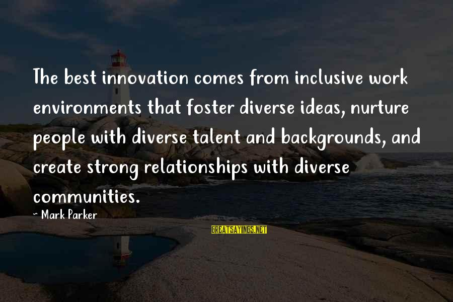 Best Backgrounds For Sayings By Mark Parker: The best innovation comes from inclusive work environments that foster diverse ideas, nurture people with