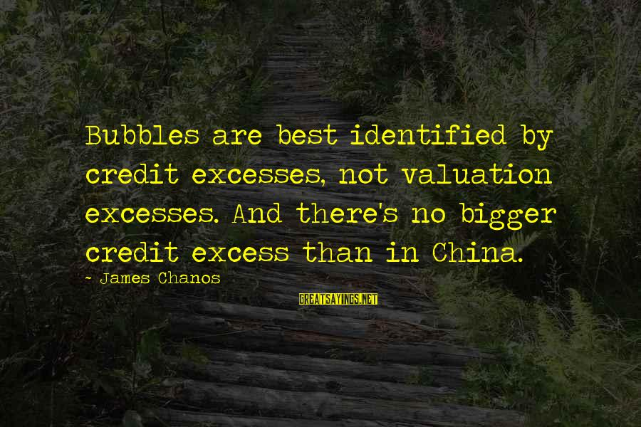 Best Bubbles Sayings By James Chanos: Bubbles are best identified by credit excesses, not valuation excesses. And there's no bigger credit