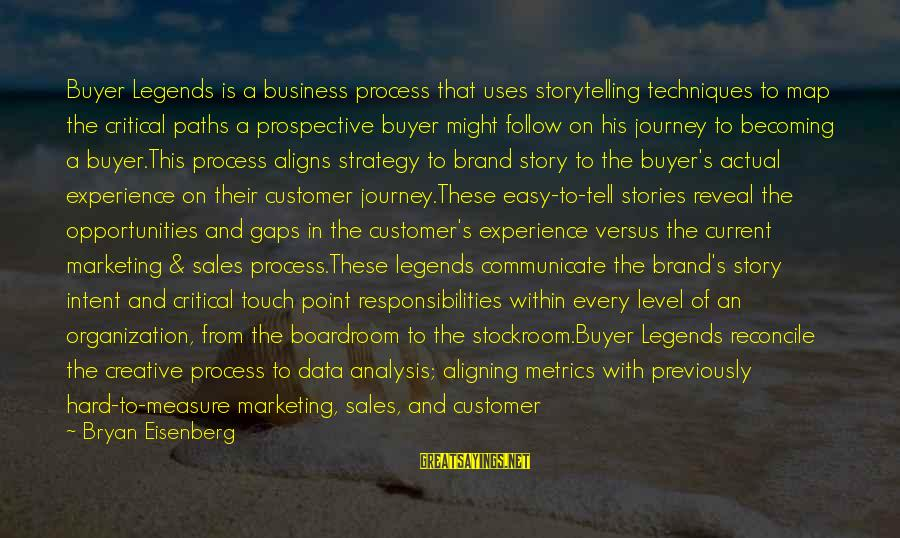 Best Customer Service Experience Sayings By Bryan Eisenberg: Buyer Legends is a business process that uses storytelling techniques to map the critical paths