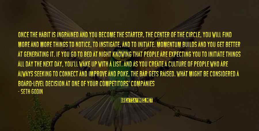 Best Day Starter Sayings By Seth Godin: Once the habit is ingrained and you become the starter, the center of the circle,