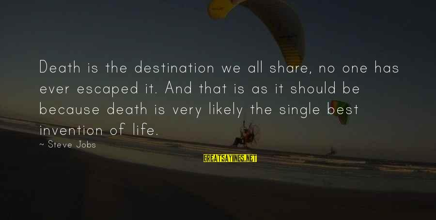 Best Destination Sayings By Steve Jobs: Death is the destination we all share, no one has ever escaped it. And that