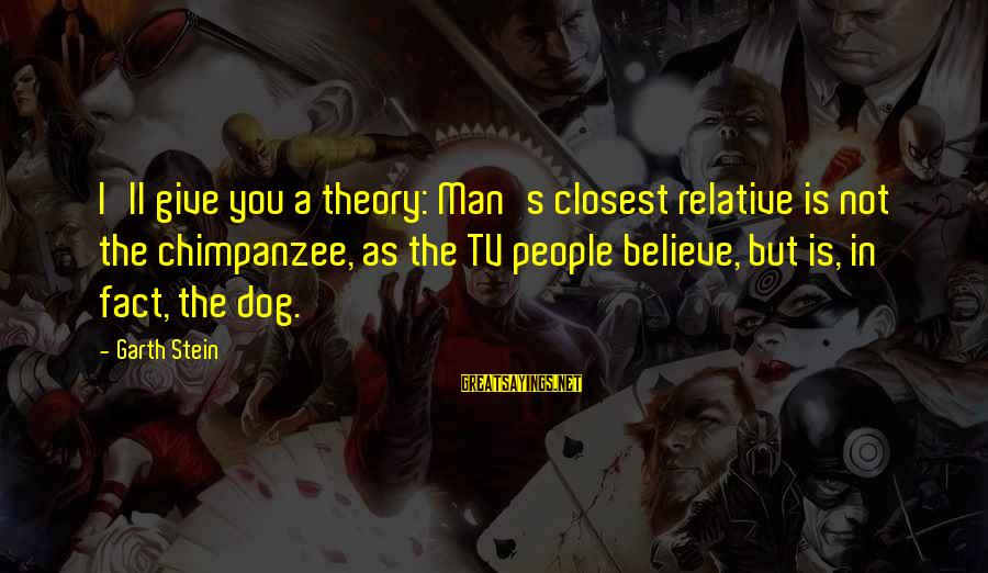 Best Dog And Man Sayings By Garth Stein: I'll give you a theory: Man's closest relative is not the chimpanzee, as the TV