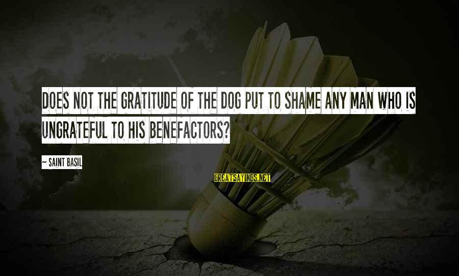 Best Dog And Man Sayings By Saint Basil: Does not the gratitude of the dog put to shame any man who is ungrateful