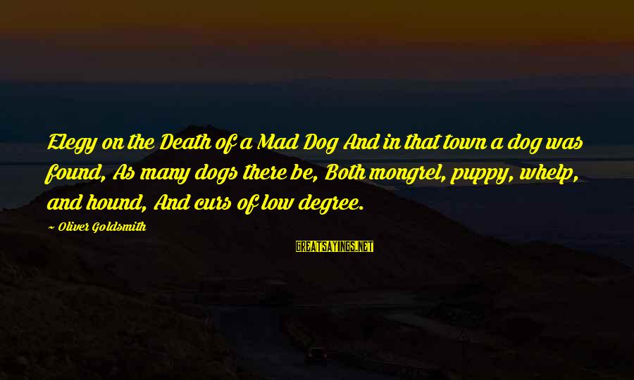 Best Dog Death Sayings By Oliver Goldsmith: Elegy on the Death of a Mad Dog And in that town a dog was