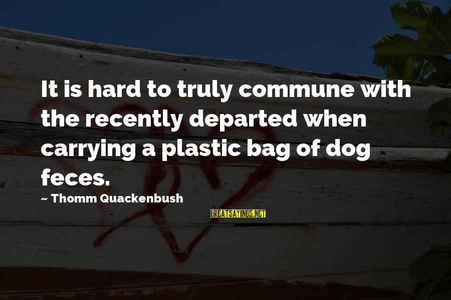 Best Dog Death Sayings By Thomm Quackenbush: It is hard to truly commune with the recently departed when carrying a plastic bag