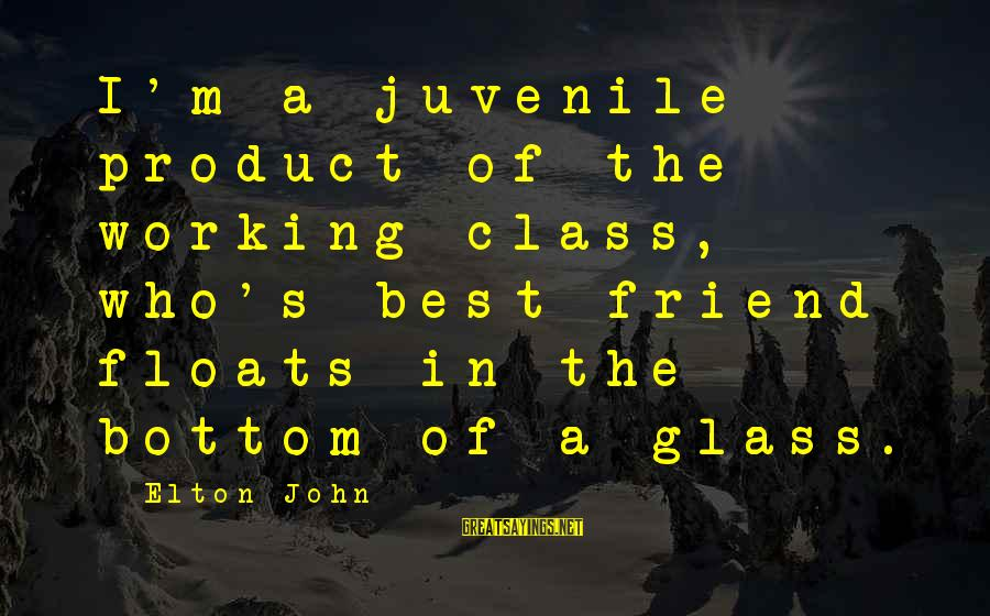 Best Glasses Sayings By Elton John: I'm a juvenile product of the working class, who's best friend floats in the bottom