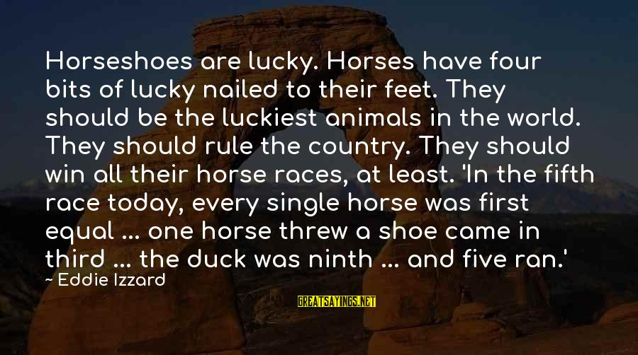 Best Horse Race Sayings By Eddie Izzard: Horseshoes are lucky. Horses have four bits of lucky nailed to their feet. They should