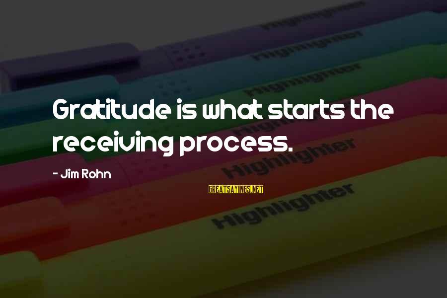 Best Jim Rohn Sayings By Jim Rohn: Gratitude is what starts the receiving process.