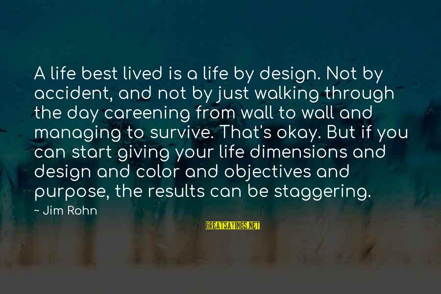 Best Jim Rohn Sayings By Jim Rohn: A life best lived is a life by design. Not by accident, and not by