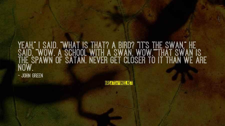 """Best Looking For Alaska Sayings By John Green: Yeah,"""" I said. """"What is that? A bird? """"It's the swan,"""" he said. """"Wow. A"""