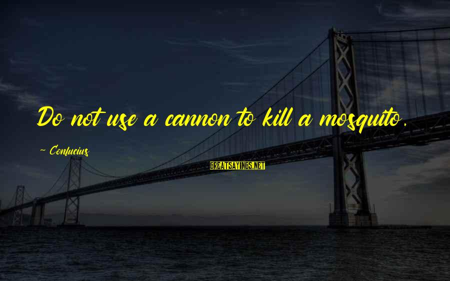 Best Mosquito Sayings By Confucius: Do not use a cannon to kill a mosquito.