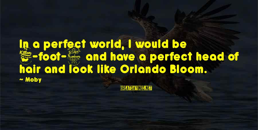 Best Orlando Bloom Sayings By Moby: In a perfect world, I would be 6-foot-3 and have a perfect head of hair