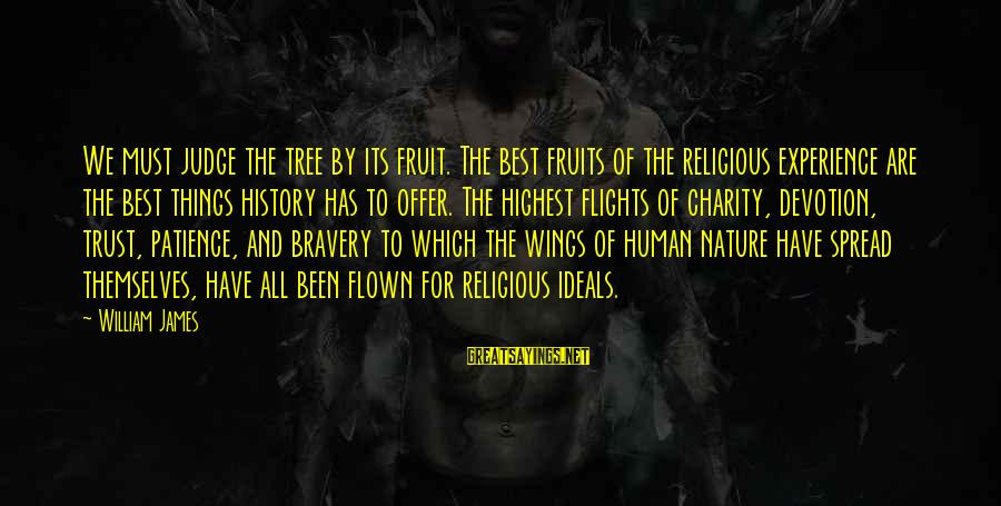 Best Religious Sayings By William James: We must judge the tree by its fruit. The best fruits of the religious experience