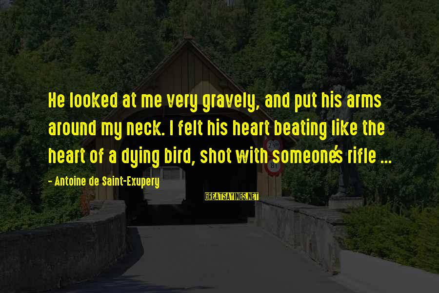 Best Shot Put Sayings By Antoine De Saint-Exupery: He looked at me very gravely, and put his arms around my neck. I felt