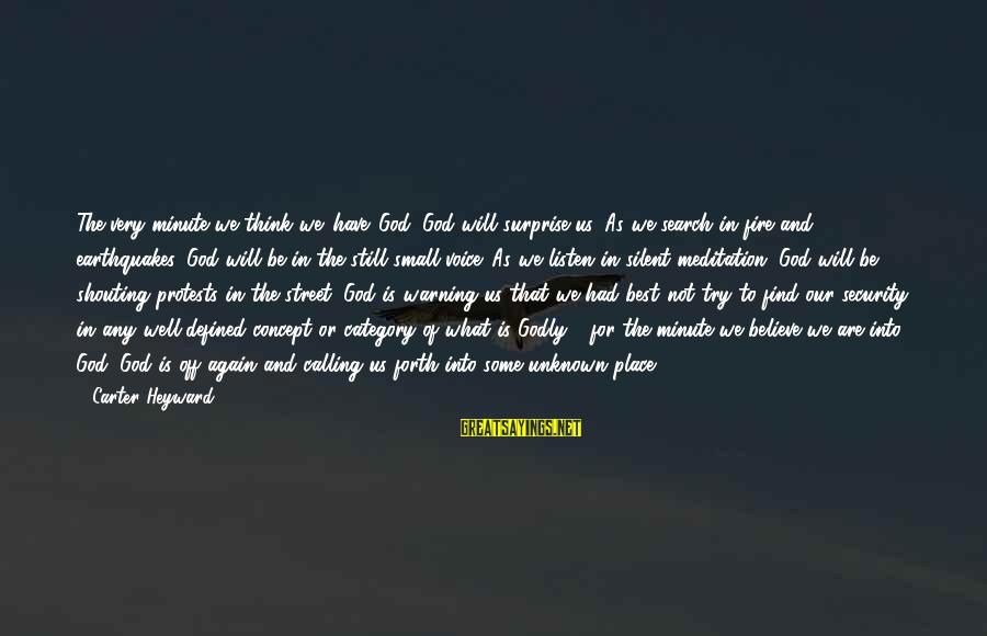 Best Very Small Sayings By Carter Heyward: The very minute we think we 'have' God, God will surprise us. As we search