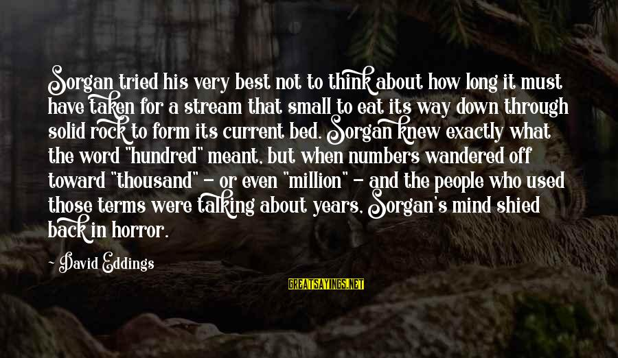 Best Very Small Sayings By David Eddings: Sorgan tried his very best not to think about how long it must have taken
