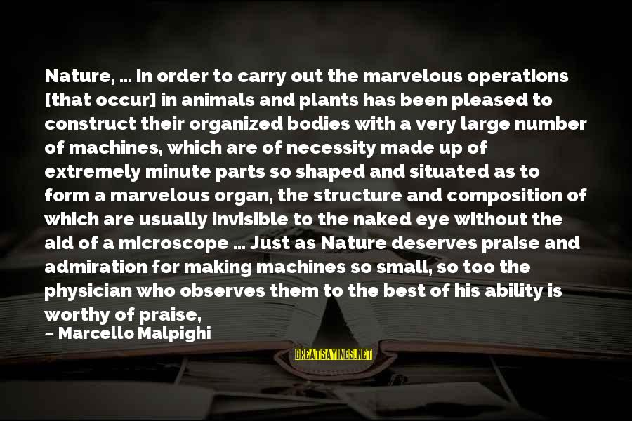 Best Very Small Sayings By Marcello Malpighi: Nature, ... in order to carry out the marvelous operations [that occur] in animals and