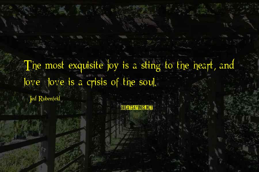 Bible Wrath Of God Sayings By Jed Rubenfeld: The most exquisite joy is a sting to the heart, and love love is a