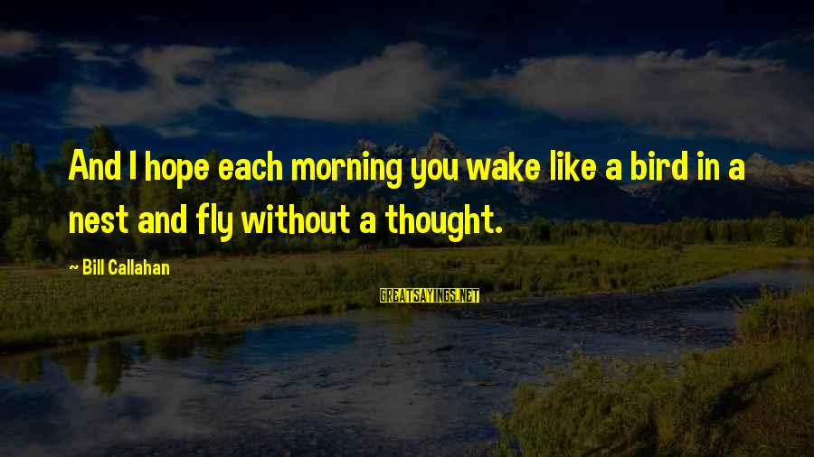 Bill Callahan Sayings By Bill Callahan: And I hope each morning you wake like a bird in a nest and fly