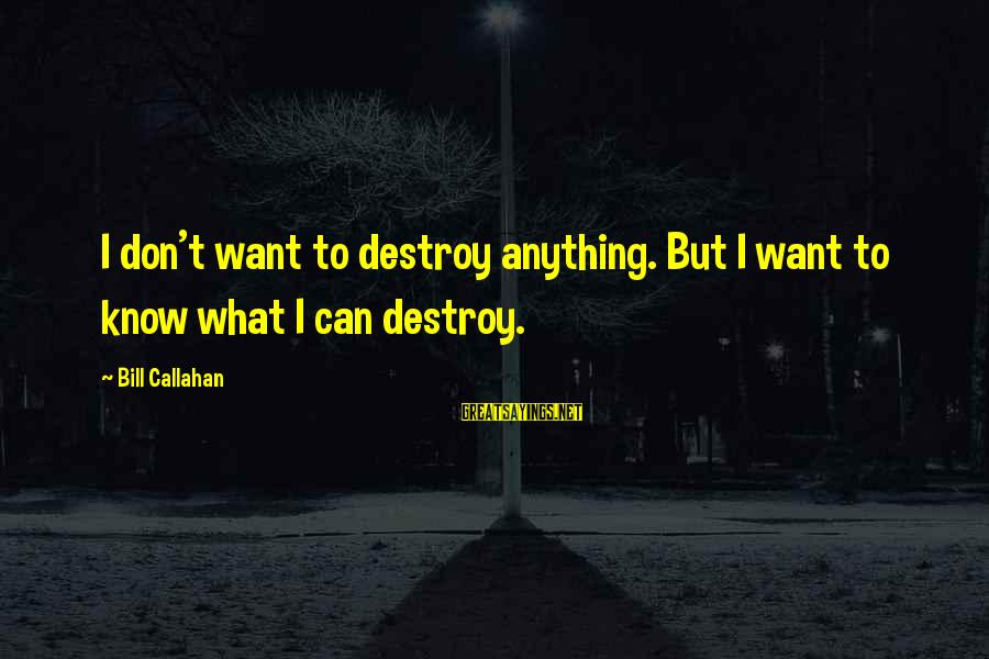 Bill Callahan Sayings By Bill Callahan: I don't want to destroy anything. But I want to know what I can destroy.