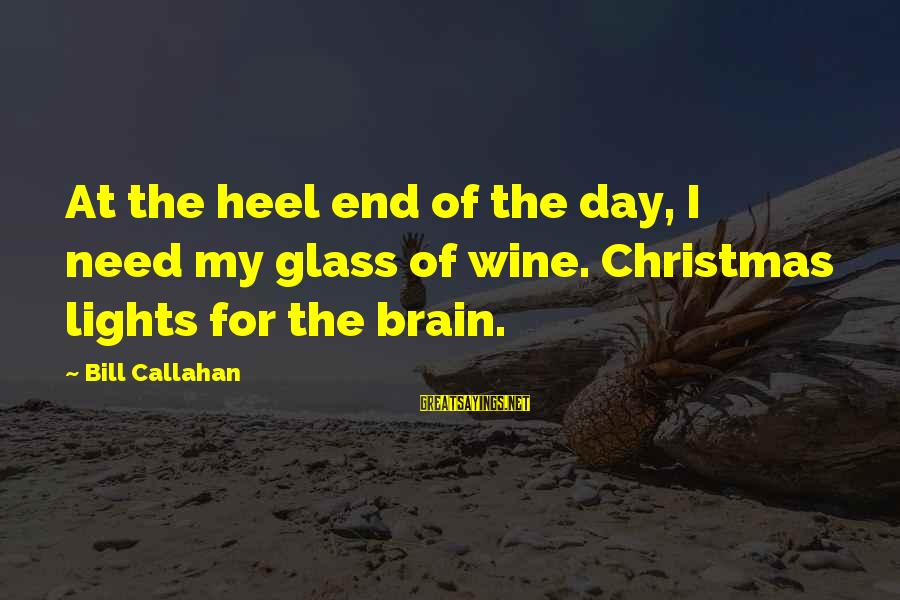 Bill Callahan Sayings By Bill Callahan: At the heel end of the day, I need my glass of wine. Christmas lights