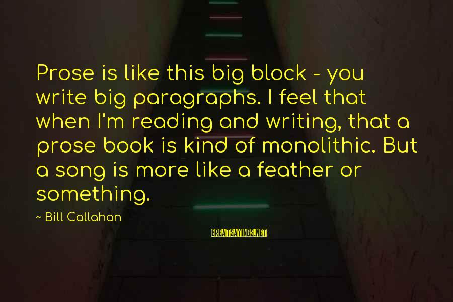Bill Callahan Sayings By Bill Callahan: Prose is like this big block - you write big paragraphs. I feel that when