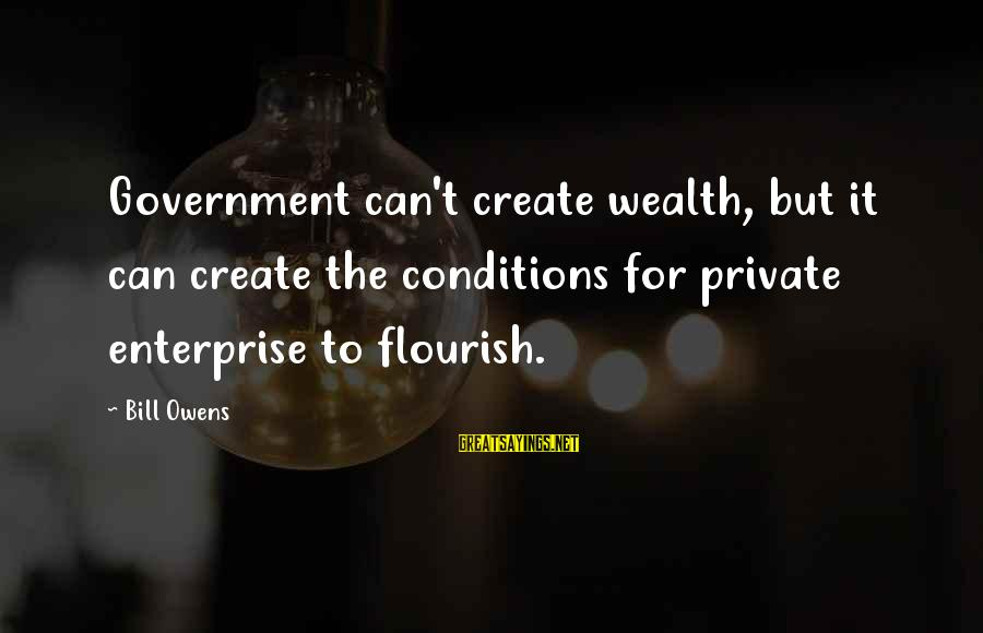 Bill Owens Sayings By Bill Owens: Government can't create wealth, but it can create the conditions for private enterprise to flourish.