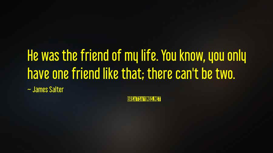 Bittersweet Life Sayings By James Salter: He was the friend of my life. You know, you only have one friend like