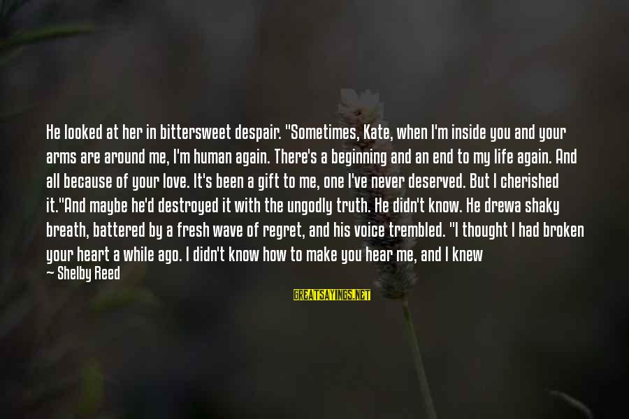 """Bittersweet Life Sayings By Shelby Reed: He looked at her in bittersweet despair. """"Sometimes, Kate, when I'm inside you and your"""