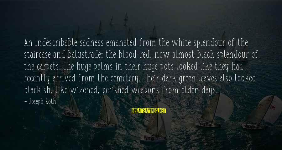 Black And Red Sayings By Joseph Roth: An indescribable sadness emanated from the white splendour of the staircase and balustrade; the blood-red,