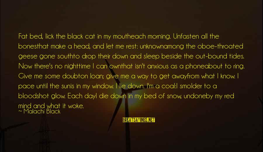 Black And Red Sayings By Malachi Black: Fat bed, lick the black cat in my moutheach morning. Unfasten all the bonesthat make