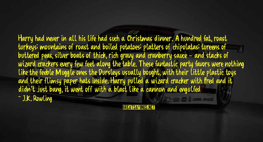 Blast Off Sayings By J.K. Rowling: Harry had never in all his life had such a Christmas dinner. A hundred fat,