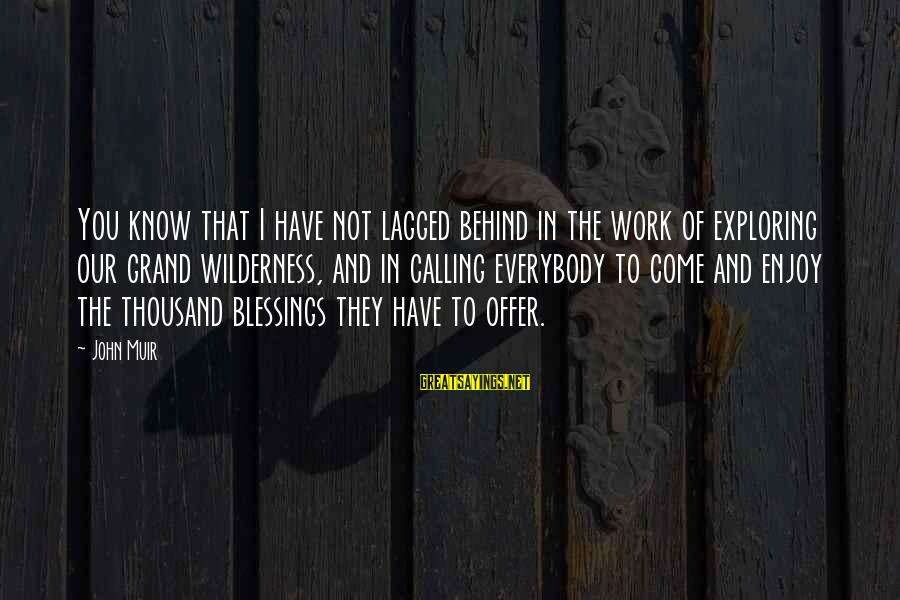 Blessing In Work Sayings By John Muir: You know that I have not lagged behind in the work of exploring our grand