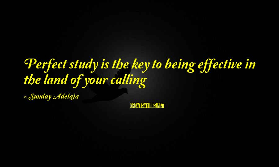 Blessing In Work Sayings By Sunday Adelaja: Perfect study is the key to being effective in the land of your calling