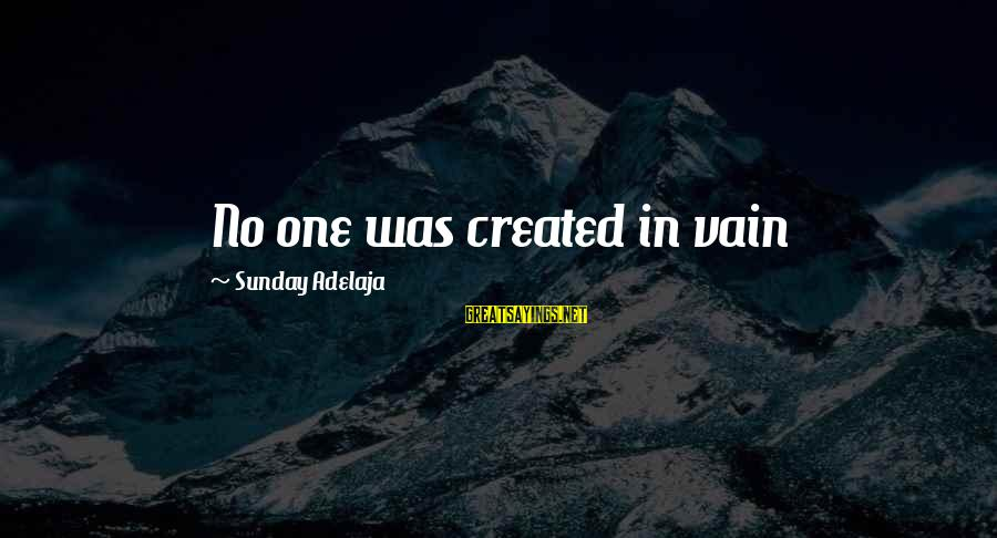 Blessing In Work Sayings By Sunday Adelaja: No one was created in vain