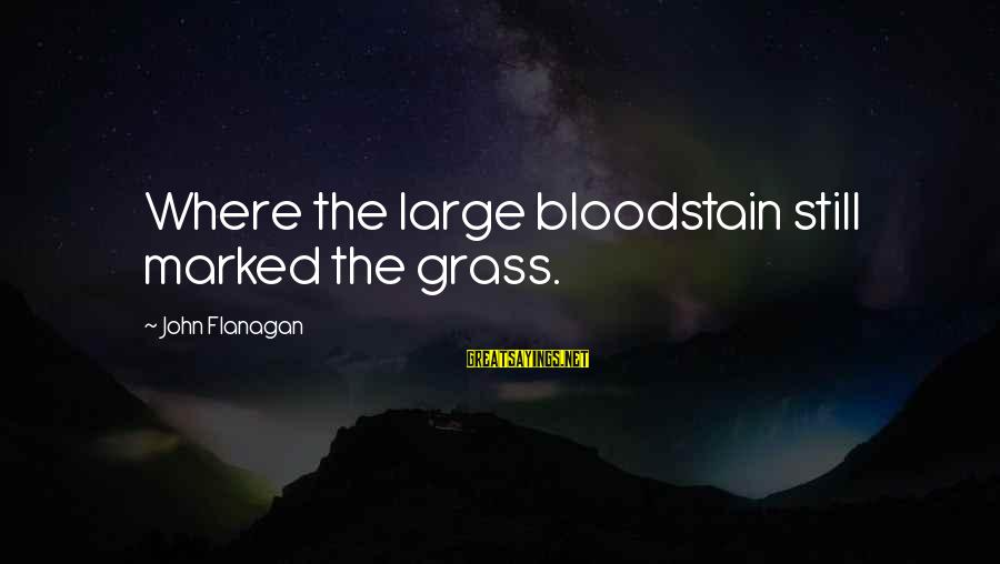 Bloodstain Sayings By John Flanagan: Where the large bloodstain still marked the grass.
